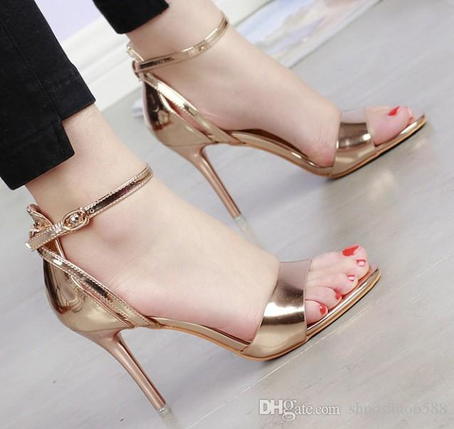 New Style Hot Sell Bride Shoes Sexy Buckles Open Toe Shoes High Heel