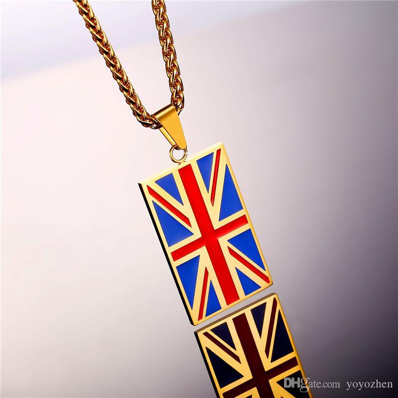 Gold Großbritannien-Flaggen-Halsketten-Anhänger für Männer Frauen-Edelstahl-Quadrat / Herz formte Flagge des Vereinigten Königreichs 18K Gold überzogene Schmucksachen