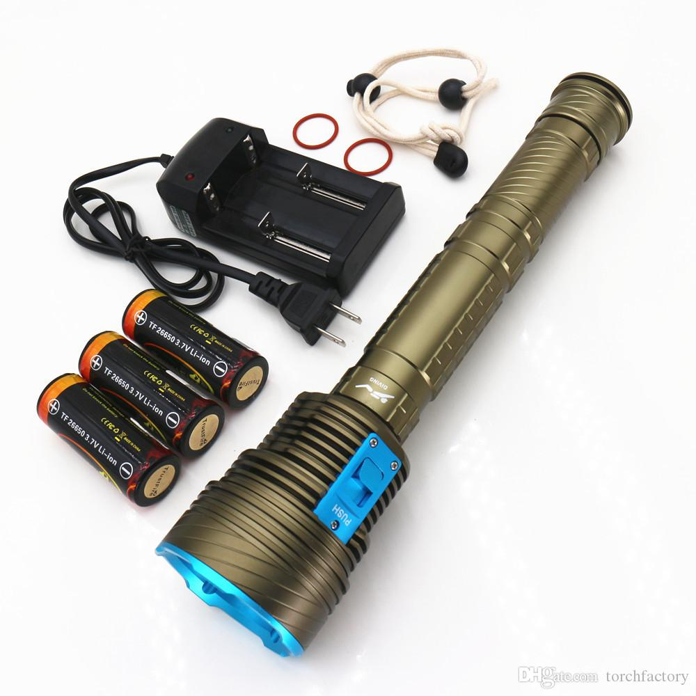 20000LM Underwater Dive Light led flashlight Flash Light Lamp 9*L2 Diving lamp Torch waterproof Lighting Lantern+3x5000MA 26650 Battery+char