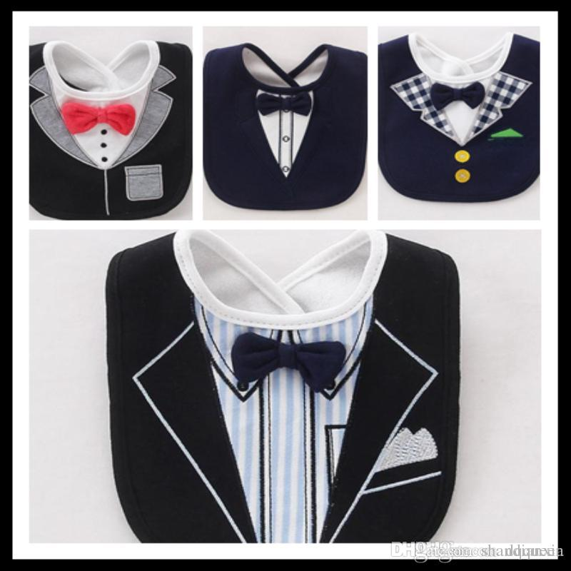 a8dd4f243 2019 New Fashion Solid Red Bow Tie Gentleman Formal Dress Bibs 3 Layers  Waterproof Baby Boy Tuxedo Bibs Newborn Dinner Feeding Bib Saliva Towel  From ...