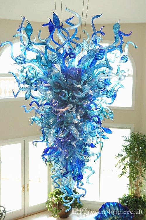 Chandelier iluminação turquesa e luzes azuis artesanais lustros de vidro lustros de vidro led luz 110V-240V para decoração de casa