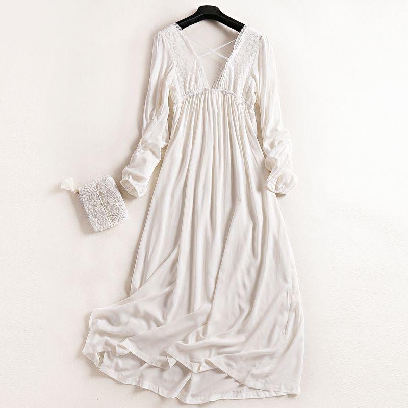46e000cf10 2019 Wholesale 2017 New Princess Women S White Long Pyjamas Lace Nightgown  Summer Sleepwear Ladies Pijamas Femininos From Rebecco