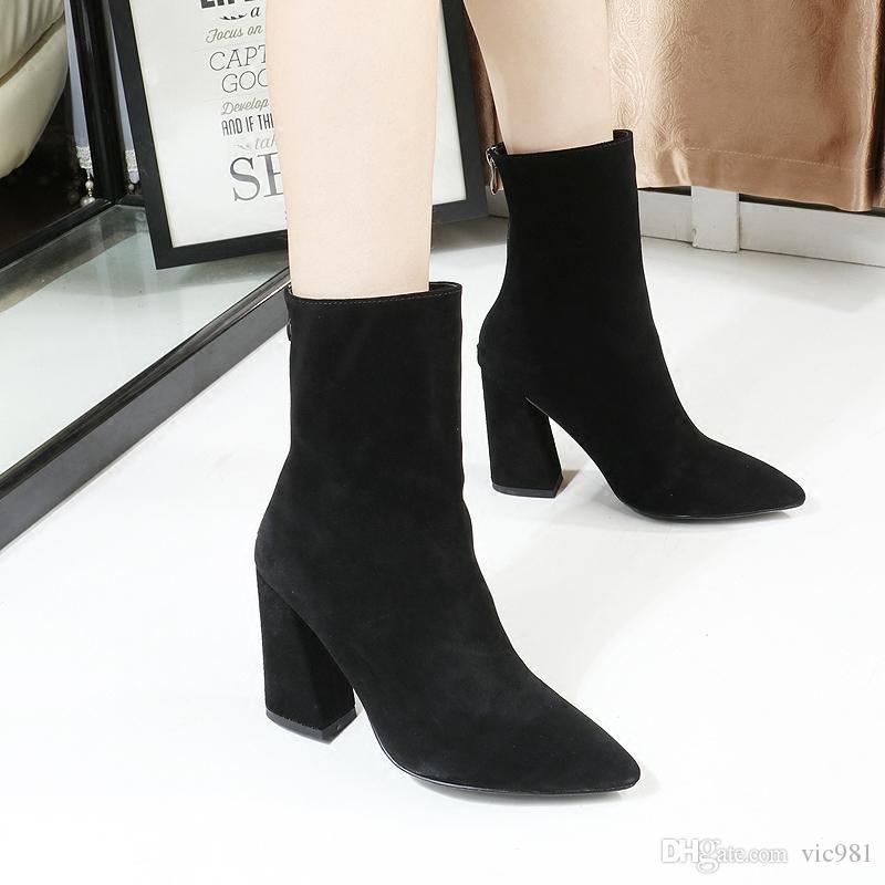 Automne et hiver nouvelle Europe et les États-Unis bottes à talons hauts bottes à talons hauts bottes en cuir en cuir,rouge,35