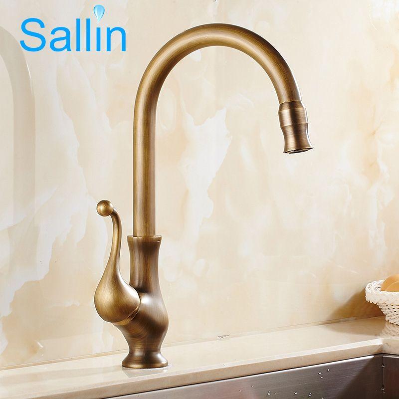 2018 Antique Brass Finish Kitchen Faucet Bronze Single Handle Hot ...