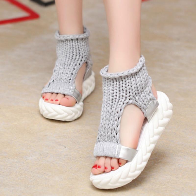 Fashion Shoes Women Sandals Summer Knitted Shoes Sandals On The Platform  Flip Flops Gladiator Bottom Women Shoes Footwear Heeled Flat Sandals  Strappy ... e5be050eb1