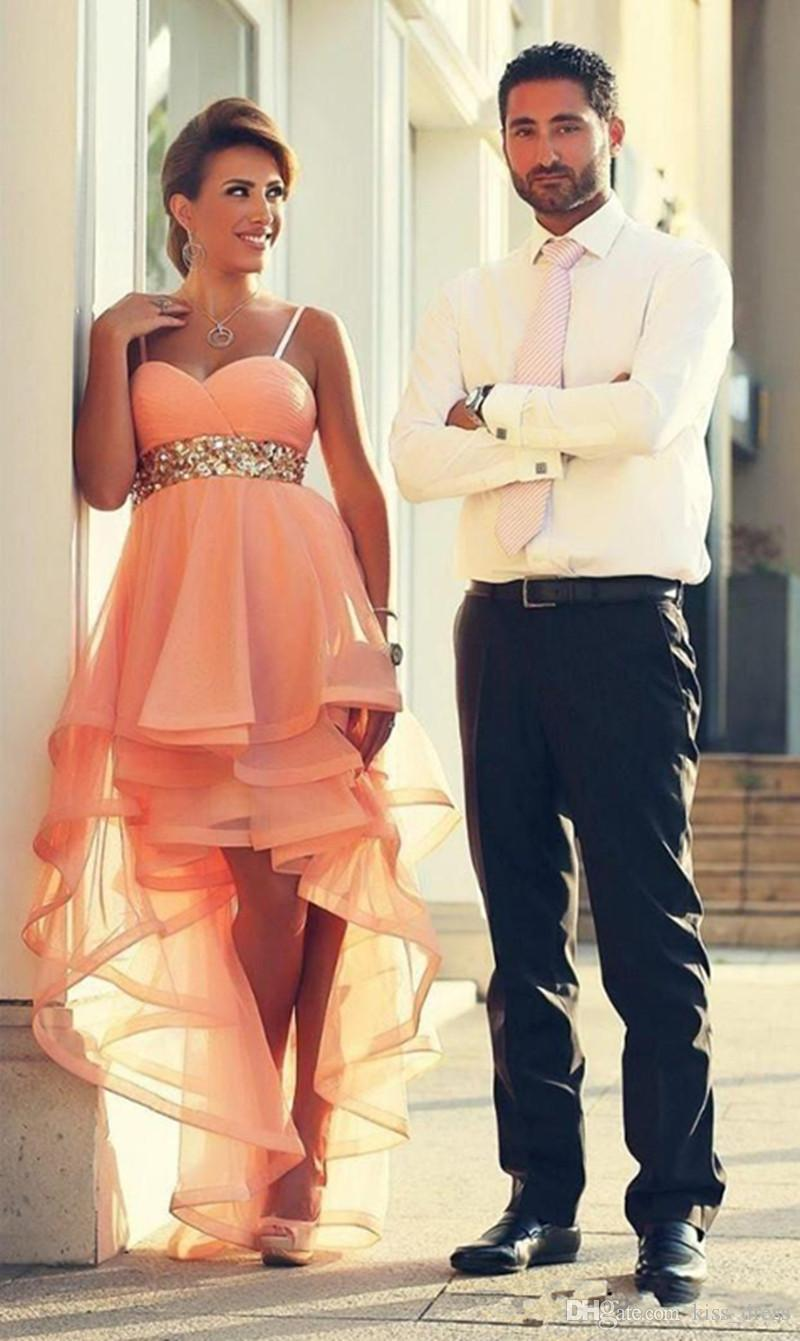 High Low Pink Prom Dresses Sweetheart Sequins Hot Sales New Sleeveless Spaghetti Strap Ruffles Organza Evening Party Gowns Custom Made P128
