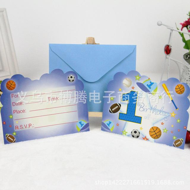 Wholesale Birthday Party Supplies Invitation 1 Year Old Boy Wedding Greeting Card Wishing From Sophine12 2566