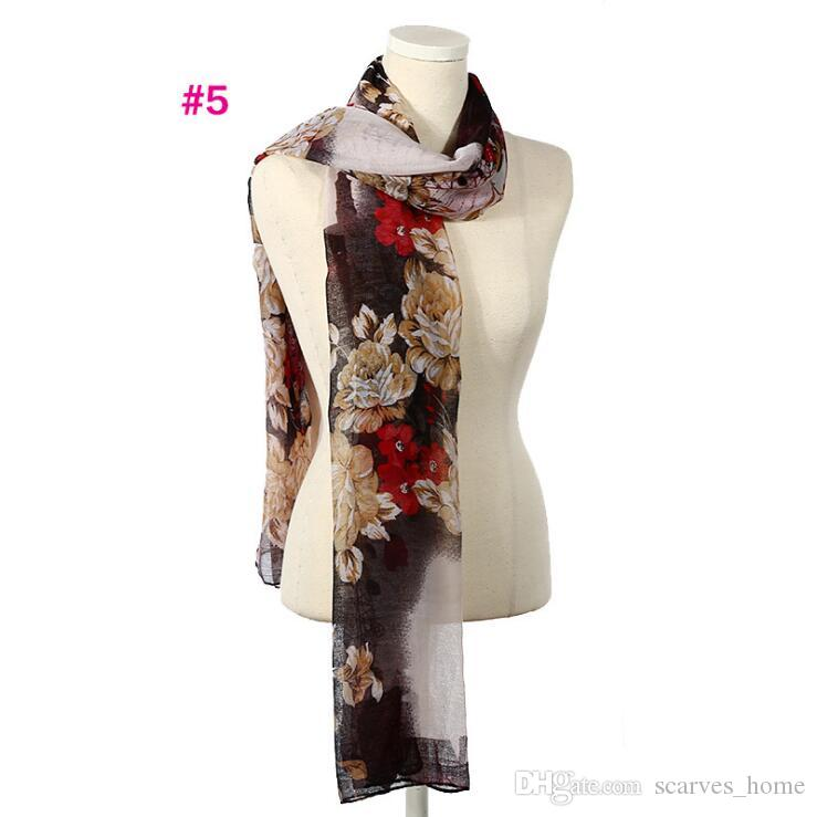 New Design Florial Voile Cotton Scarf light color Retro Oil Painting Print Circle Scarf Large Size Long Scaves Women infinity Scarfs