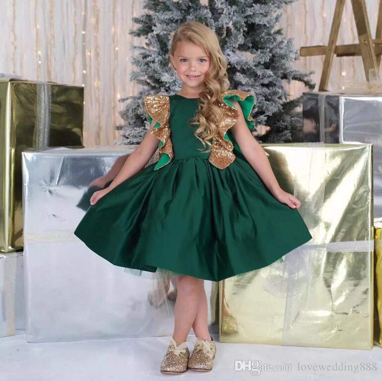 3bb0af8ce114 Dark Green Satin Knee Length Cheap Girls Birthday Party Dresses With Big  Bow Back Jewel Neck Flower Girls Toddler Clothing Girl Dress Shoes Girls  Bridesmaid ...