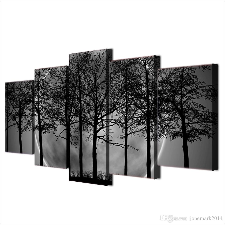 / Ensemble Encadré HD Imprimé Noir Et Blanc Arbre Forêt Toile Art Peinture Affiche Image Pour La Maison Décoratif Mur Photo