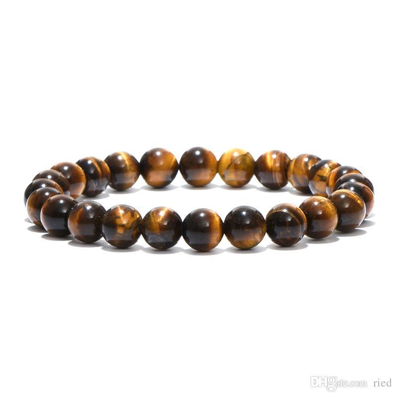 Minimalista de piedra natural grano redondo de Buda pulsera de ojos de piedra Tiger Yoga Meditación Braclet Para Hombres Mujeres joyería Bijoux