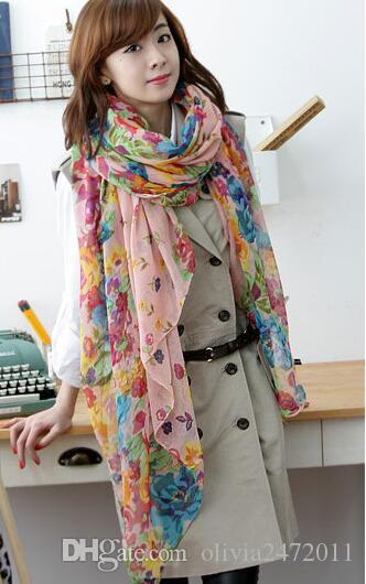 Rural roto hermosa flor larga bufanda grande chales bufandas de seda rural roto hermosa bufanda para mujeres