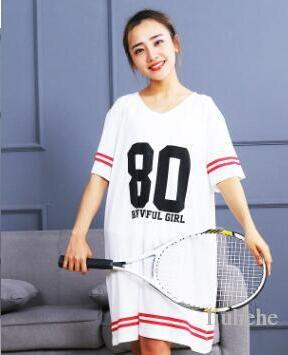 pigiama a maniche corte femminile maglietta lunga all'ingrosso allentata con scollo a V gonna di cotone moda sport vento digitale casa casual abbigliamento