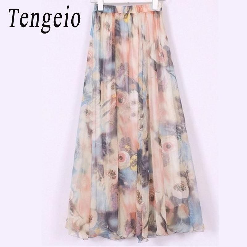 4e732a66b0 Tengeio 2017 Fashion Casual Skirts Women Elegant Boho Bohemian Chiffon  Summer Beach Maxi Flower Long Pleated Skirt Falda SJM Online with  $10.21/Piece on ...