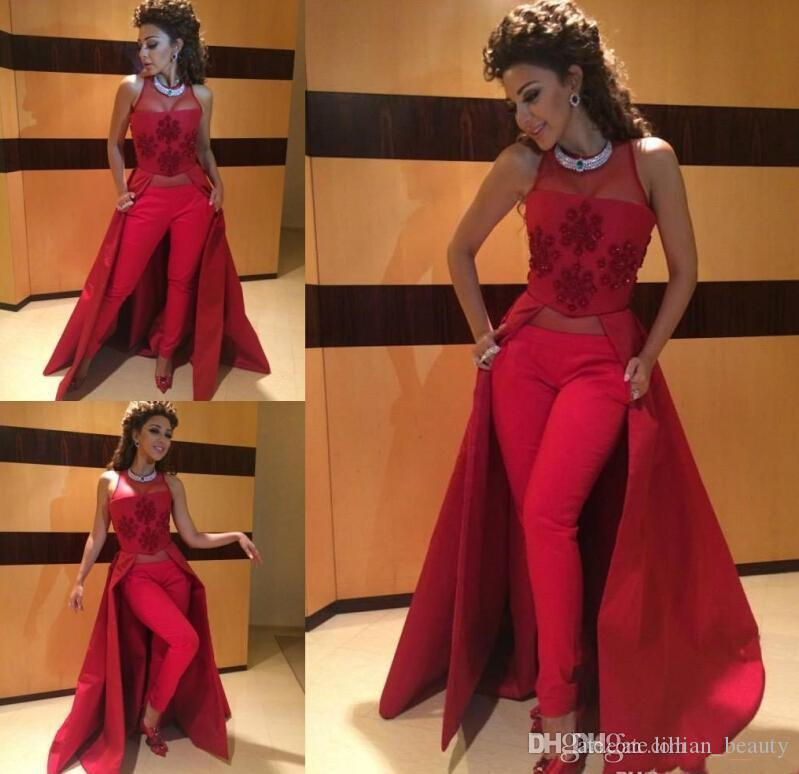 Red Prom Dresses Pants Trousers Evening Dresses Jewel Vestido De