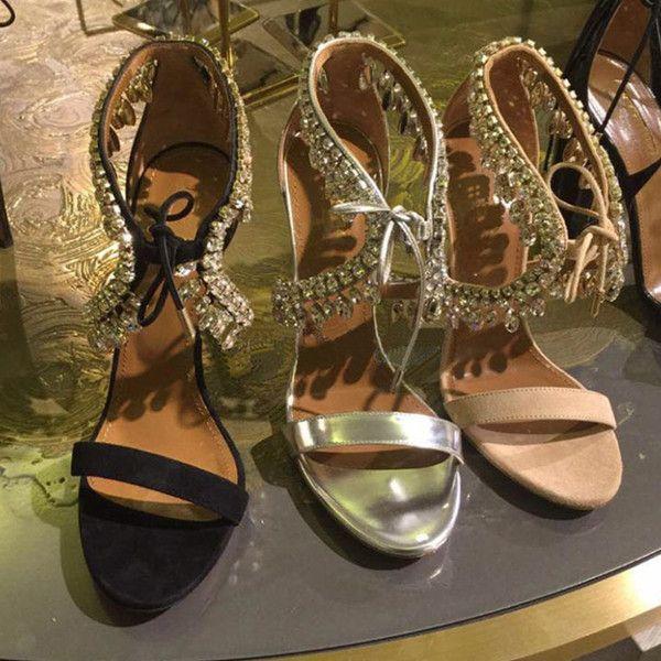 Sexy Fringe De Cristal Sapatos De Casamento Vestido De Festa De Salto Alto Bling Lace-up Das Mulheres Sandálias De Prata Preto De Camurça Gladiador Sandálias Mulher 2017