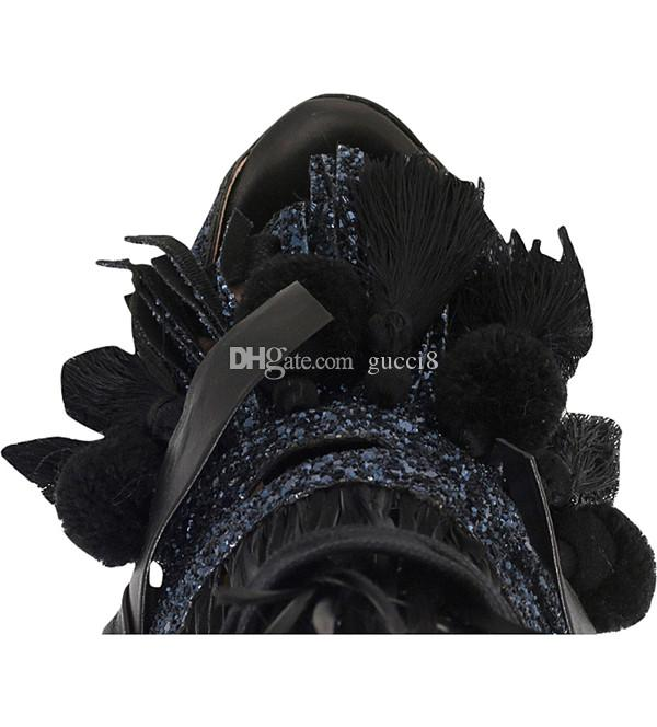 Deep Blue Black Sandals for women Chunky heels Tassel Fringe Vintage Rome Style Ladies Gladiators Open toe Shoes Bandage Feminino