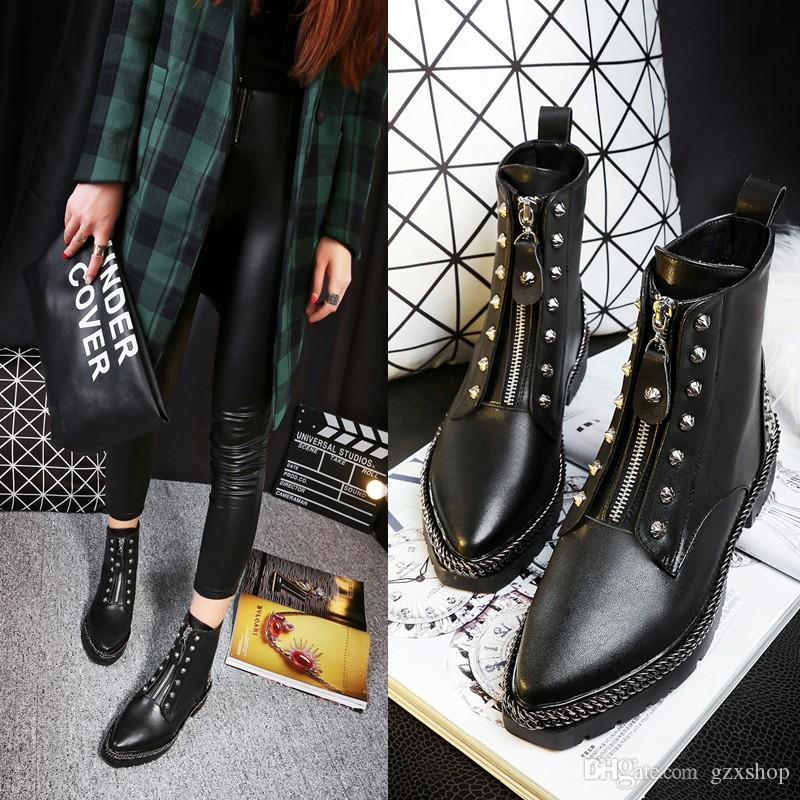 2016 Autumn Women Black Martin Boots Black Riding Booties European Style Rivets Ankle Boots Front Zipper Genuine Leather Ankle B