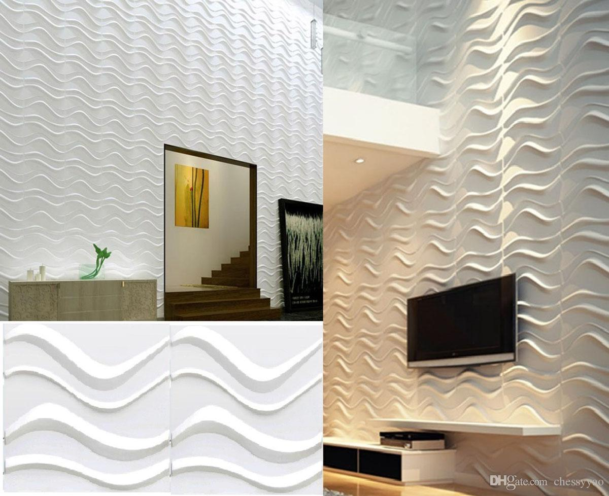 Light weight waterproof eco friendly material interior easy diy wave effect design 3d decorative pvc wall sticker panel removable wall stickers decor