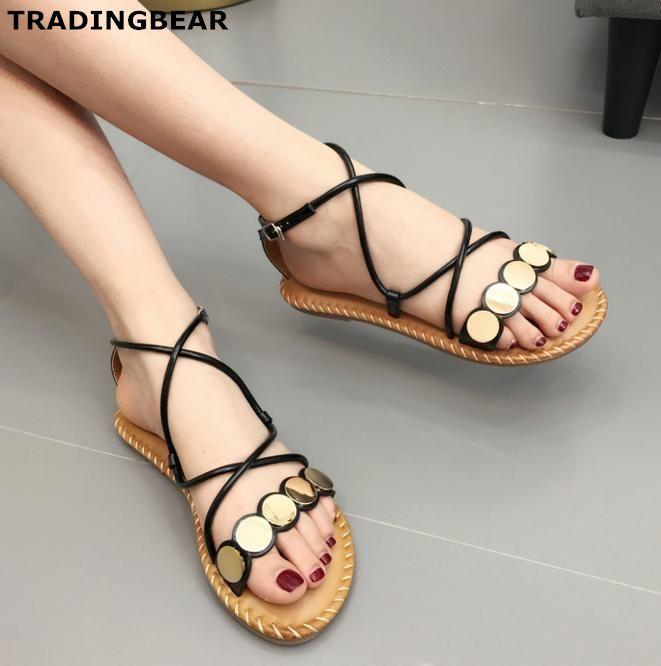 la mode plates des chaussures plates mode des sandales gladiateur sandales croix noire e4feba