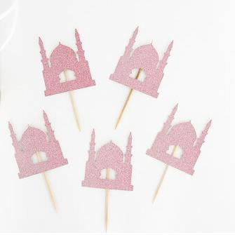 Custom personality wholesale 30pcs glitter Ramadan Eid Cupcake toppers birthday bridal shower Wedding engagement Bachelor party toothpicks