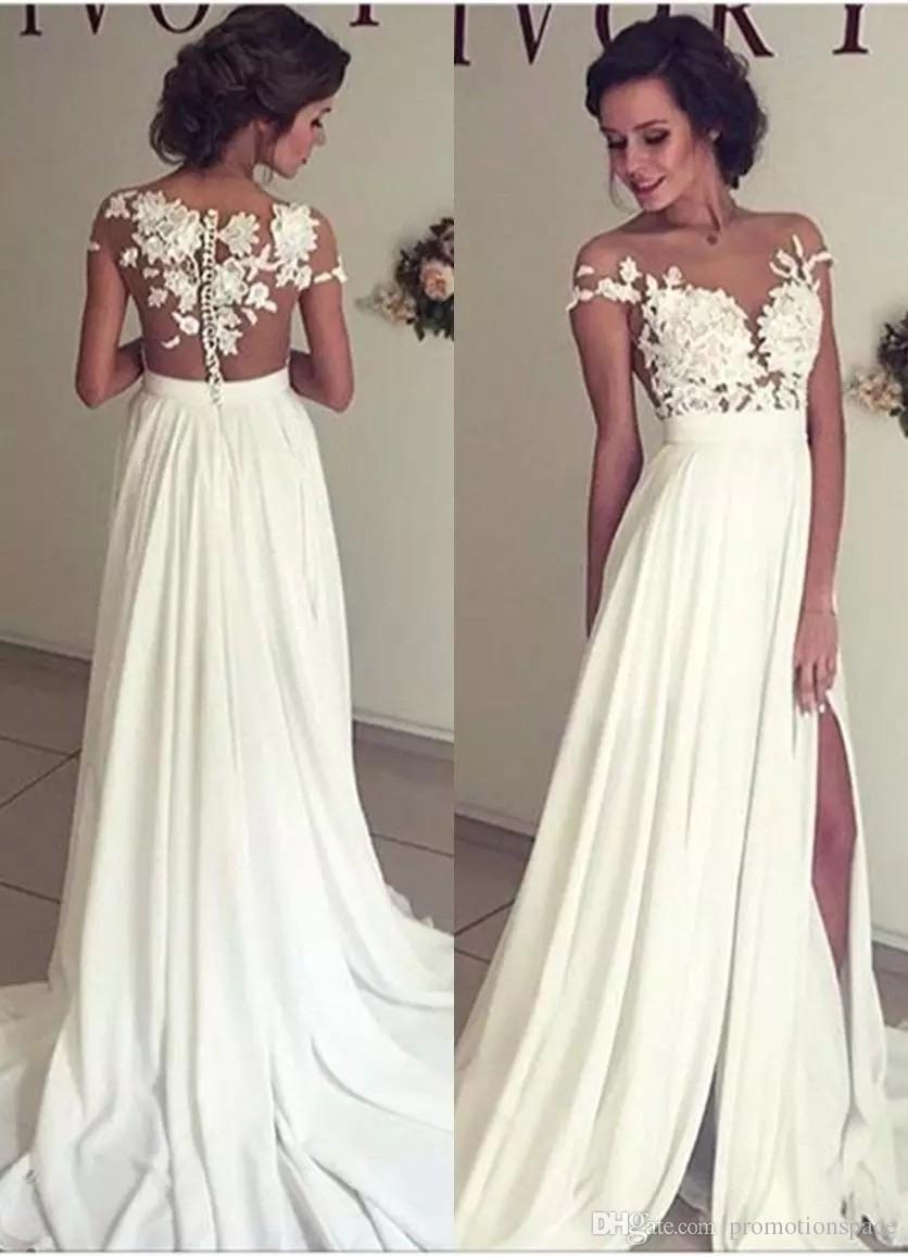 Vestidos bohemios de la boda de la gasa del verano Apliques de encaje del cuello redondo escarpados baratos Alto Spplit hueco detrás de la playa de Boho Vestidos de novia largos