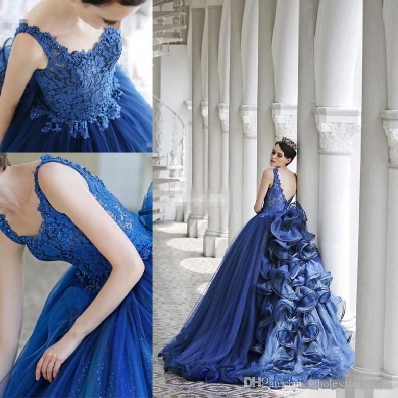 Beautiful Lace Appliques Beaded Sequins Navy Blue Prom Dresses 2017 Tier Layers Tulle Train Backless Arabic Dubai Party Evening Gowns