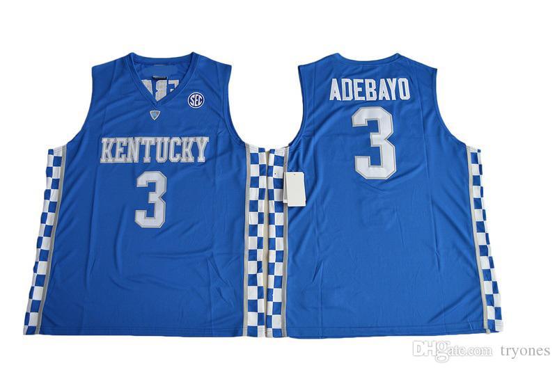 2017 كنتاكي Wildcats كلية كرة السلة الفانيلة De'Aaron Fox Malik Monk Edrice Adebayo John Calipari Shirt University Jersey