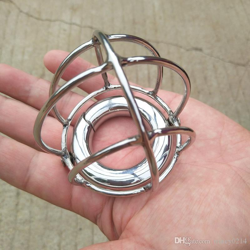 Escroto Colgante de Acero Inoxidable Escroto Jaula Bloqueo de Gallo Jaula Dispositivos de Bondage Masculinos Juguetes Sexuales B2-2-100