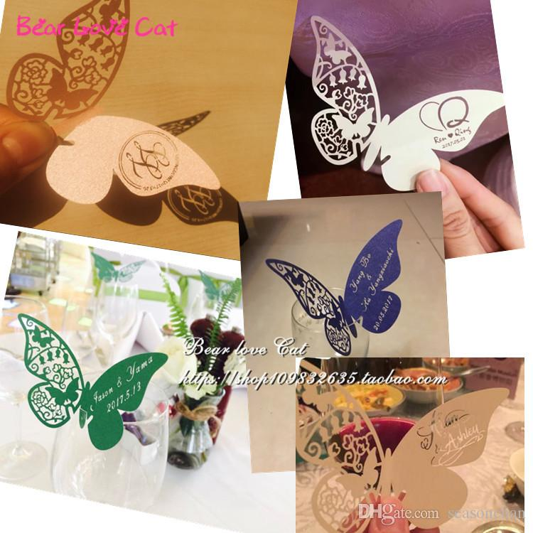 Place Card butterfly Cups Glass Wine Customized Wedding Name Cards Laser Cut Pearl Paper Card Birthday Baby Shower Party Decoration