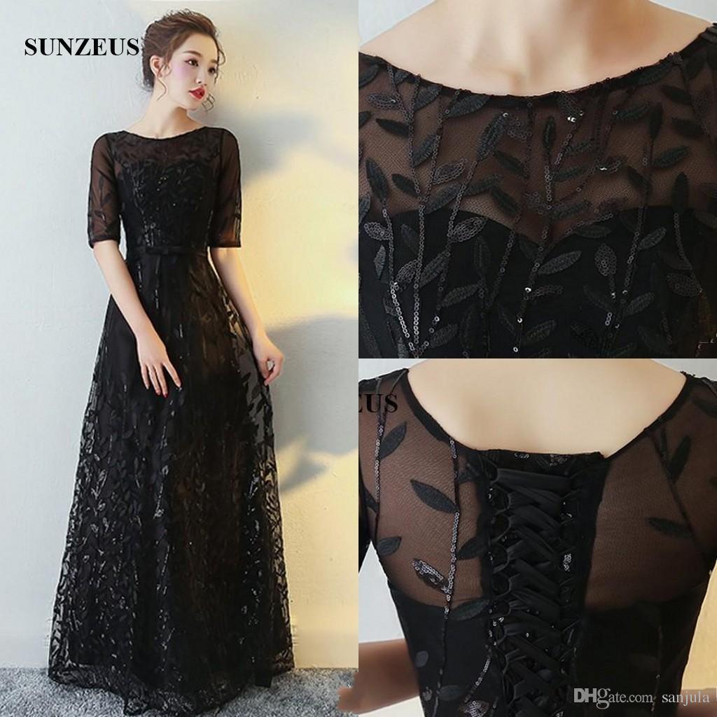 Elegant Black Lace Mother Of The Bride Dresses A-line Scoop Neckline ...