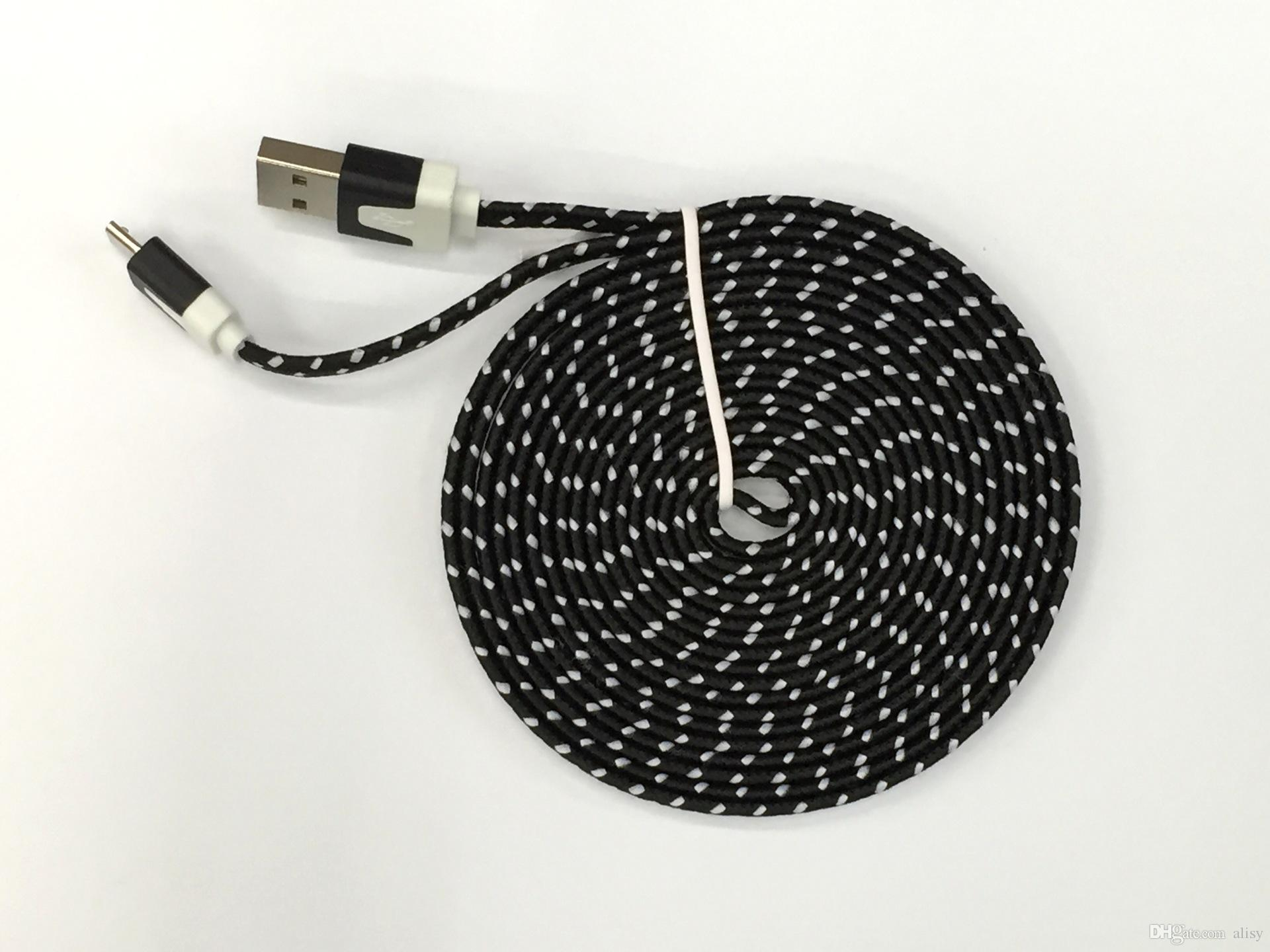 10FT 6ft 3FT Noodle Flat Braid Charging Cord Sync Fabric Micro Wire USB Data Woven Cable Line Samsung S6 S7 EDGE