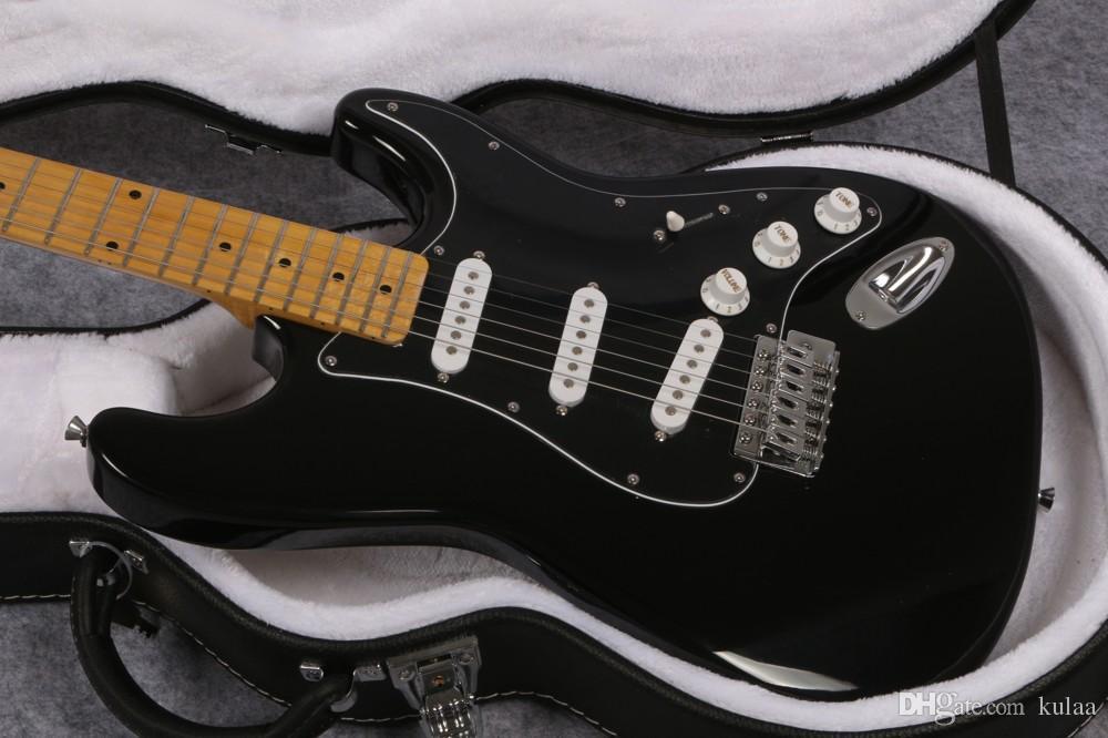 Vente chaude usine magasin touche noire maple David Gilmour Guitare électrique