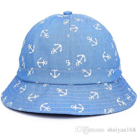Neue Packable Gedruckt Anker Fischer Demin Eimer Sonnenhut Outdoor Strand Hut Frauen Fedora Kirche Hüte Heißer Sommer Korea Mode