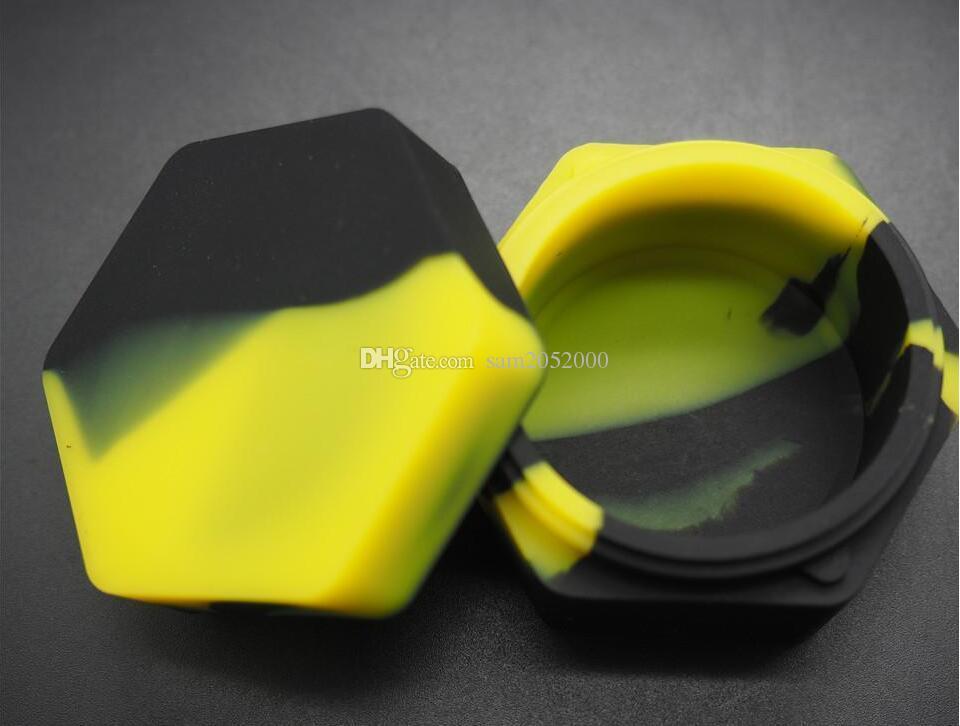Lebensmittelqualität Silikonbehälter 26ml Sechseck Öl Glas E-Zigarette Zubehör Nicht-Stick Silcon Container Gläser DAB 57mmx30mm