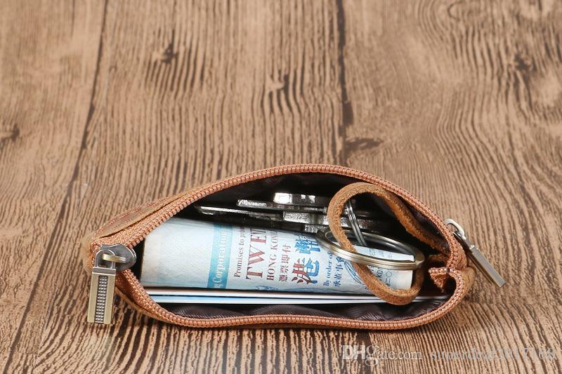 Yüksek qualtiy vintage çok fonksiyonlu fermuar organizatör hakiki deri araba anahtarlık moda bölünmüş erkekler anahtar çanta k ...