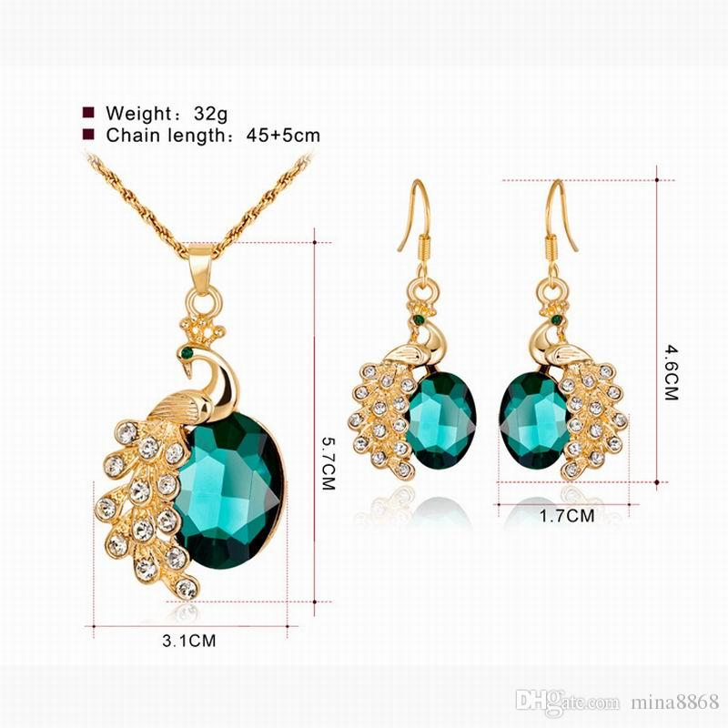 Luxury Rhinestone Crystal Necklace Earrings Crystal Peacock Jewelry Sets For Women Fashion Gold-Color Wedding Jewelry Sets Wholesale