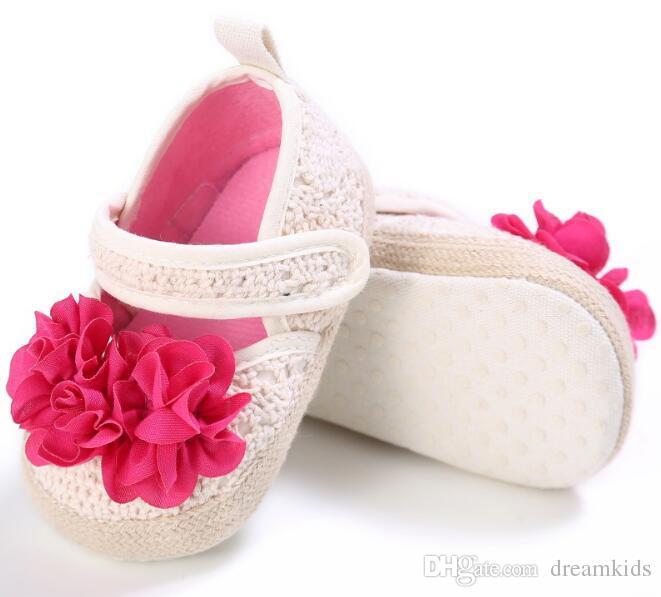 Fashion baby girls fabric flower first walker Baby Children Summer Soft bottom prewalkers Cute Bow Children Bowtie shoes