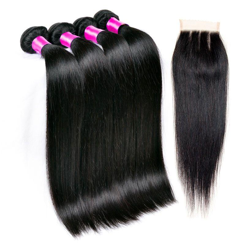 Brazilian Hair Weave Bundles Best 8A Unprocessed Brazillian Peruvian Indian Malaysian Cambodian Straight Human Hair Extensions Natural Black