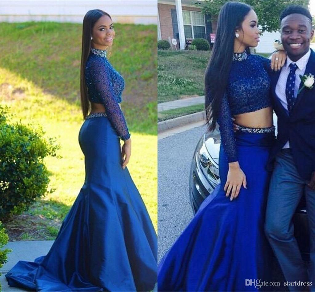 Due pezzi blu scuro sirena prom dresses collo alto Prom Dresses top in rilievo di cristallo manica lunga abiti da sera fishtail abiti indiani africani