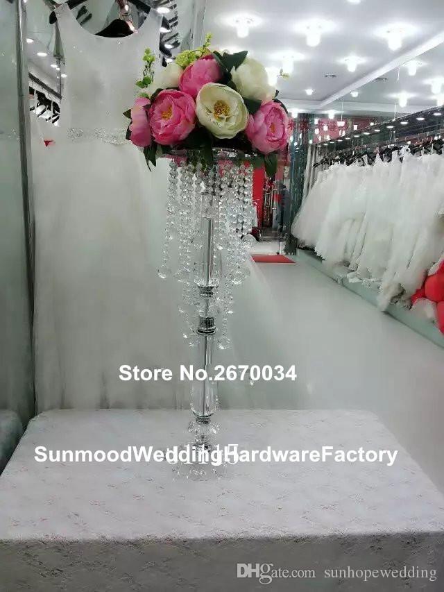 الجملة الفضة الاكريليك الكريستال معدن الشمعدانات الزفاف الجدول المركزية