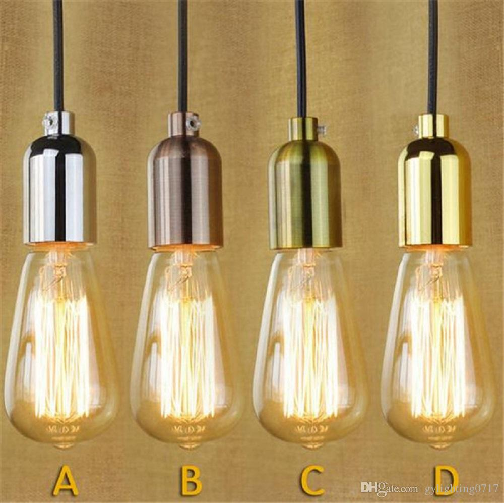 antique brass lighting fisherman 110v 220v retro edison bulb holder e27 socket antique brass lamp base cord grip threaded lampholder for pendant light adapter lighting kitchen clear