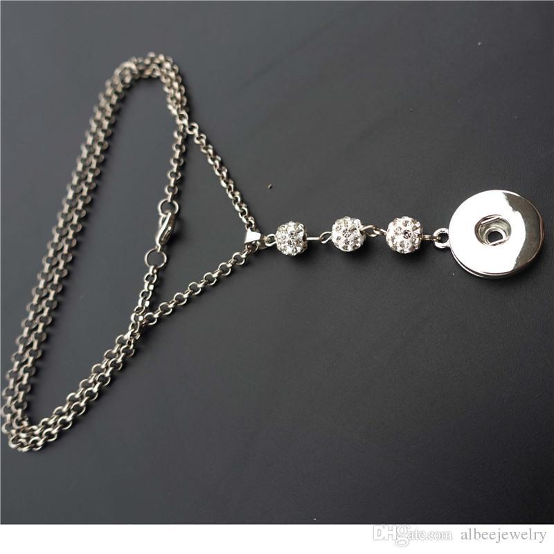 Moda Noosa Chunks Metal Jengibre 18mm Botones a presión Pave Rhinestone Crystal Disco Bola Collar de Joyería Femenina