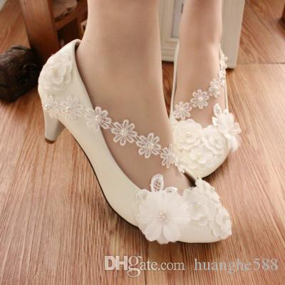 White Wedding Shoe Cotton Flower Bridesmaid Shoes With Studio Photos ...