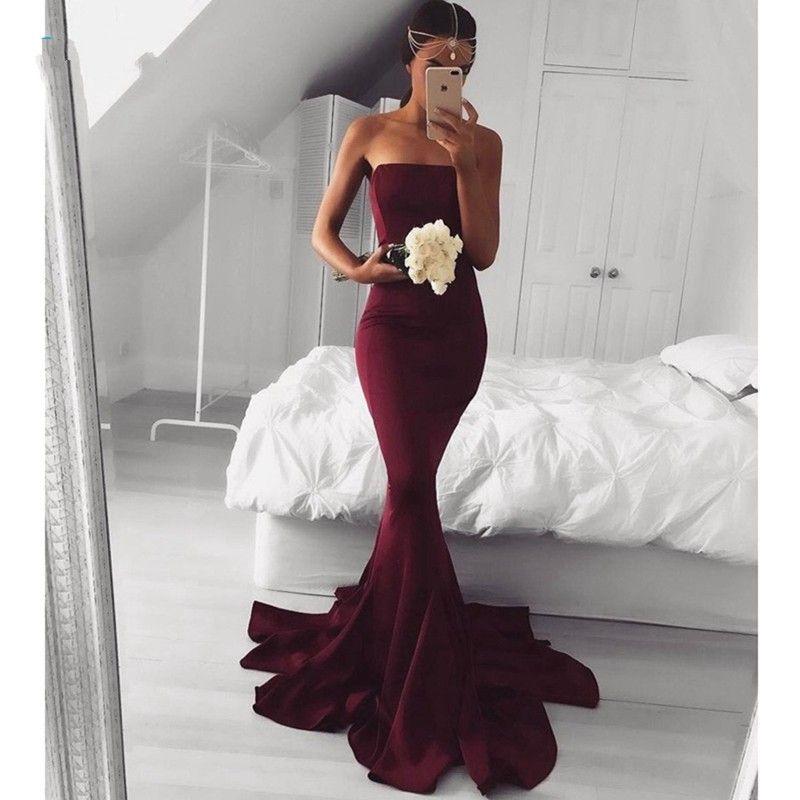 b7103efcd5b Simple Burgundy Prom Dresses For Graduation 2017 Strapless Maroon Prom  Dressess Mermaid Backless Custom Evening Dress Cheap Topshop Evening Dresses  ...
