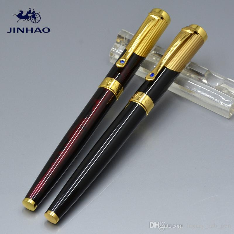 JINHAO Alta qualidade preto e Ágata design de metal vermelho clássico Fountain pen com material de escritório da escola escrita marca suave caneta de tinta presentes