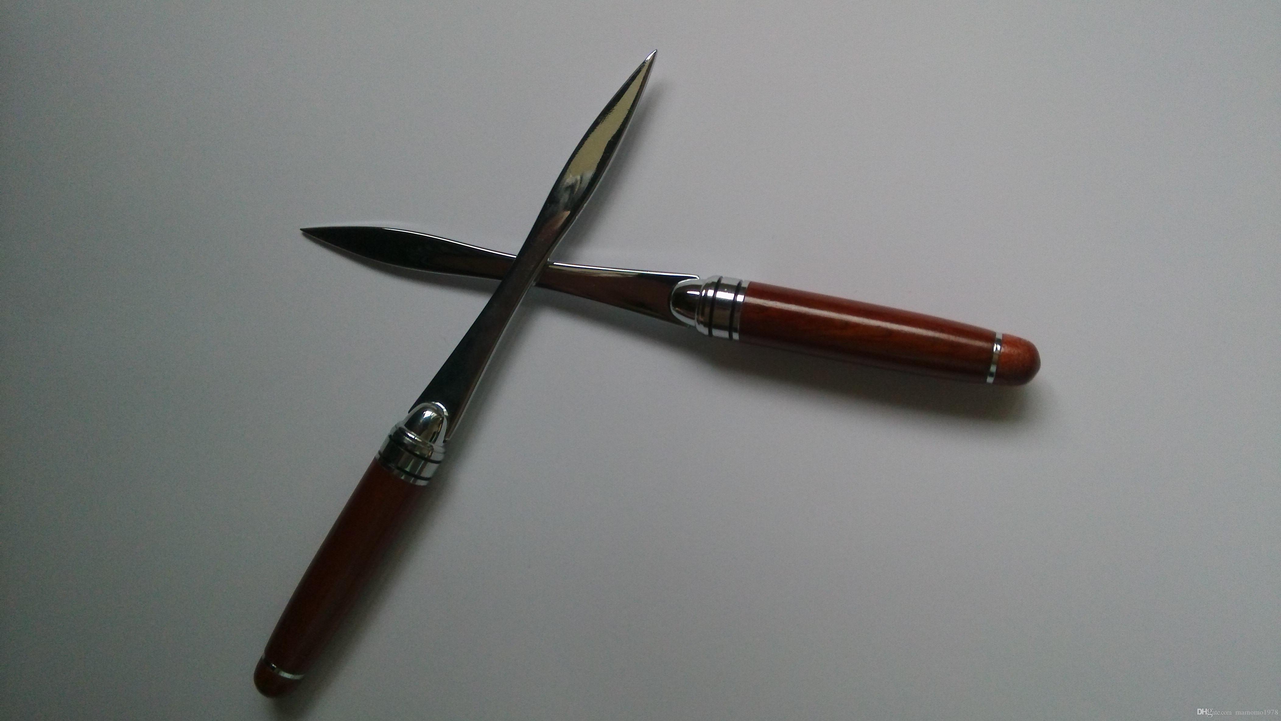 1 UNID de acero inoxidable cuchillo de sobre cuchillo de papel abridor de letras con mango de metal rojo metal artesanía vendedor caliente P041