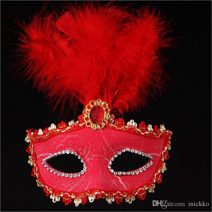 Kadın Cadılar Bayramı Çatlak Kapak Parti Maskeleri Boyalı Tüy Masquerade Maske Venedik Maske Doğum Günü Bar Parti Gösterisi Yüz Maskeleri