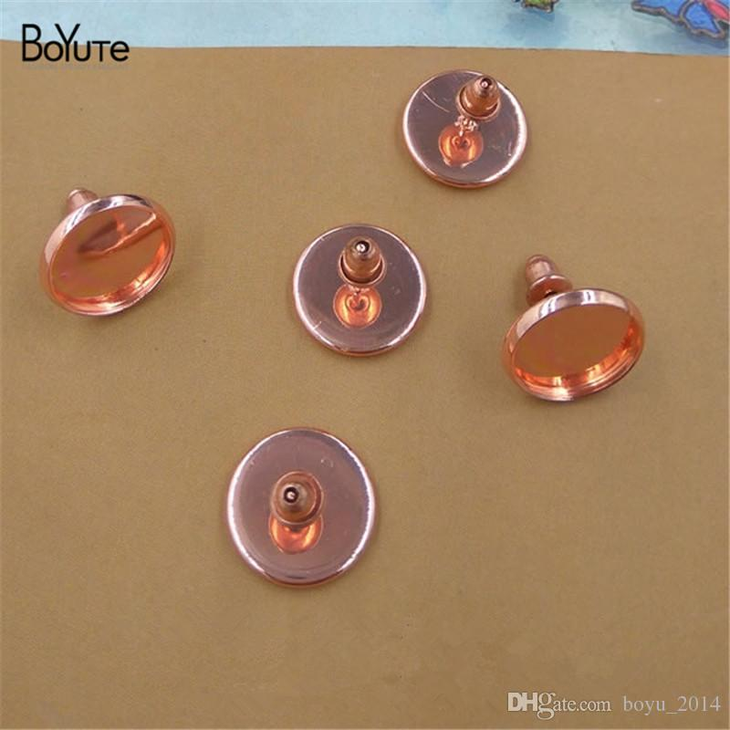 BoYuTe To Fit 8MM 10MM 12MM Cabochon Earring Base Rose Gold Plated Diy Stud Earring Findings