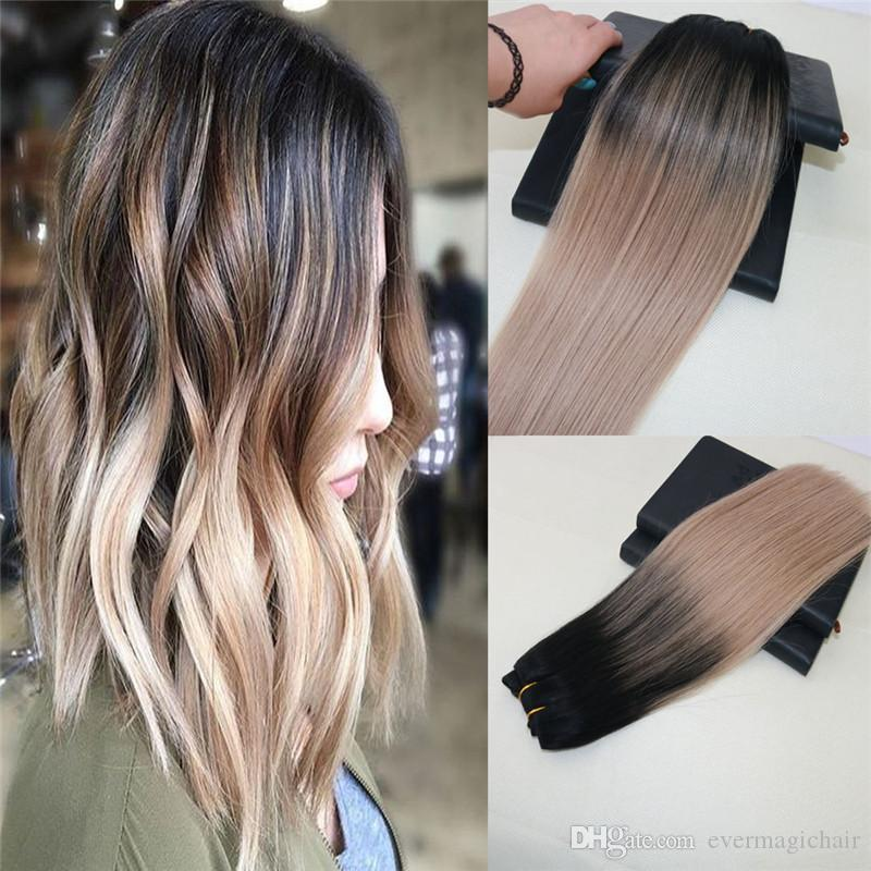 8a Grade Remy Brazilian Human Hair Extensions Balayage Color 1b